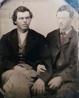 ANTIQUE VICTORIAN AMERICAN MEN BFFs GINGER ARTISTIC DUDES GAY INT TINTYPE  PHOTO