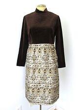 VGC Vtg 60s 70s Mod Eleanor Brenner Brown Velour Gold Metallic Cocktail Dress M