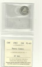 1965  Canada 80% Silver 10 Cent ICCS PL-65 Heavy Cameo