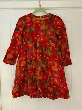 OILILY RED HEDGEHOG DESIGN SILK PUFFBALL STYLE LONG SLEEVED DRESS -6 YRS 116 CM