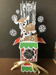 WOODLAND DEERS  IN SNOW  -   3D POP UP BOX CHRISTMAS CARD