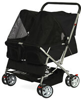 Pet Stroller Cat Dog 4-Wheel DOUBLE TWIN Walk Travel Folding Carrier