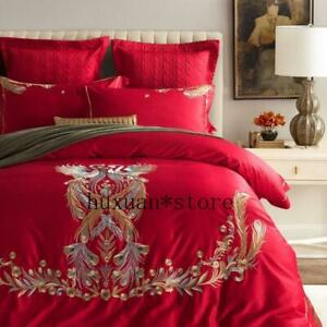 Luxury Egypt Cotton Wedding Compliment Bedding Set Embroidery Duvet Cover  Sheet
