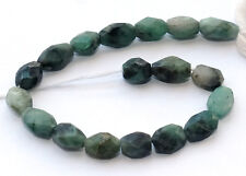 HALF STRAND DEEP GREEN TEXTURED EMERALD FACETED OVAL BEADS, 8 X 6 MM