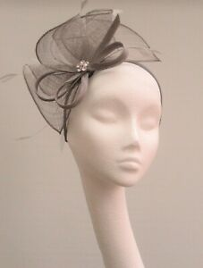 Grey Sinamay Fascinator