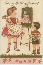 VINTAGE GIRL PONYTAIL PINK DRESS PAINTING BIRTHDAY CAKE CHILD FLOWERS CARD PRINT