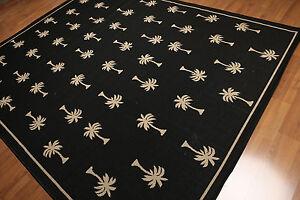 8' x 10' Modern Contemporary Area rug Dhurry AOR7247 - 8x10 Black