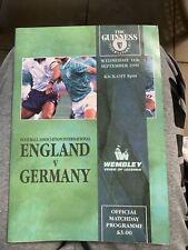 1991 England V Germany Wembley Football/soccer Programme