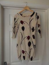 NEXT Jumper Dress Beige/Blue/Red/Purple Floral Print Thin Knit UK Size 8