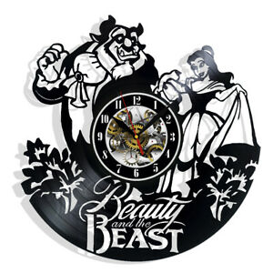 Beauty And the Beast Vinyl Wall Clock Record Gift Decor Sign Feast Day Birthday