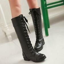 8a36936863b9 Womens Military Combat Knee High Boots low heels Lace Up Knight high top  shoes