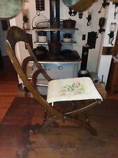 Antique Civil War Era Ladder Back Folding Carpet Bag Camp Chair