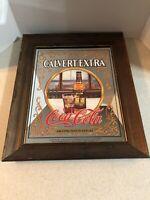 "CALVERT EXTRA WHISKEY -ENJOY COCA-COLA WOOD FRAMED MIRROR    15 1/4"" X 18"""