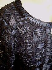 10/12 Jacques Vert Navy Tapework Mother of the Bride Dress Jacket Bag Fascinator