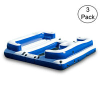 Intex Oasis Island Inflatable Giant 5 Person Lake Floating  Lounge Raft (3 Pack)