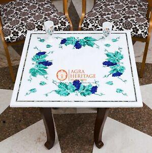 Antique Marble Top Coffee Table Malachite Semi Precious Floral Art Home Decor
