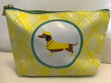 Stacy Claire Boyd For Twos Company Dachshund Yellow Pouch Cosmetic Bag