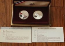 1983/1984 S Silver Proof Olympic Dollar 2 Coin US Mint Commemorative Set Box,COA