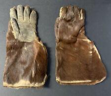 Antique Vintage Brown Fur & Leather Gauntlet Trapper Woodsman Gloves
