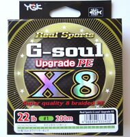 YGK G-Soul X8 Upgrade PE 22lb #1 200m Braided Fishing Line JDM 333438
