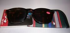 Ellen Degeneres Reading Sun Glasses wSoft Case  TORTOISE +2.50 ~ Free Ship USA.