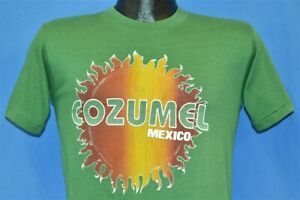 vtg 80s COZUMEL MEXICO FIERY SUNSET FLAME TOURIST KELLY GREEN TRAVEL t-shirt S