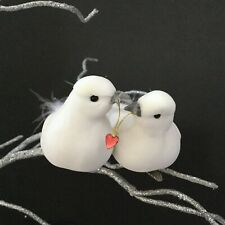 Pair Of Kissing Love Doves 1st Christmas Tree Wedding Decoration Clip Bird White
