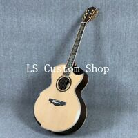 42''Jumbo Half Cutway Top Quality Full Solid Deluxe Acoustic Guitar Flower Inlay
