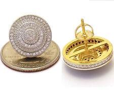 MENS 18K YELLOW GOLD FILLED  LAB DIAMOND SCREW BACK STUD EARRINGS SET