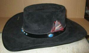 "Bailey Cowboy Hat ""Gambler""  Felt Hat sz 7 1/4 Leather Band Turquoise Stones"