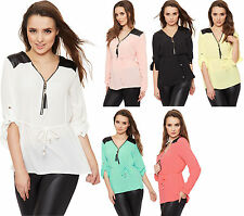 Karierte Damenblusen, - tops & -shirts mit V-Ausschnitt aus Polyester