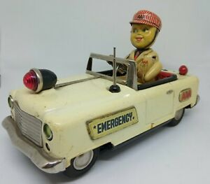 Vintage Tin Litho AAA EMERGENCY SERVICE TRUCK, Japan (T.N Nomura) battery toy