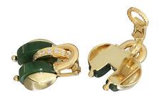 Designer Ohrclips Gold 750 mit Brillanten und Jade Ohrschmuck Gelbgold Ohrringe
