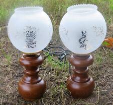 2x Tischlampe Antik Nachtischlampe Lampe HOLZ Tischleuchte Design H26 Leselampe