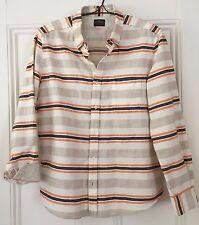 Rare! $250 Ones Stroke Kith Shirt 5 L Ivory Indigo Orange Striped Japan Japanese