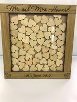 Personalised oak wooden wedding guest book heart drop box 144 hearts