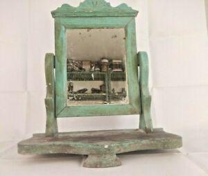 Antique  /Vintage TABLETOP VANITY BELGIUM MIRROR ON STAND Tilting Wooden Frame
