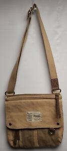 Fossil Canvas Cross Body Messenger Bag Tan Multiple Pockets 10 1/2 x 11 x 2