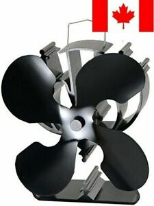 4-Blade Heat Powered Stove Fan for Wood/Log Burner/Fireplace Increases 80% Mo...