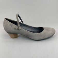 Camper Agatha Taupe Nubuck Leather Slip On Mary Jane Low Heels Shoes Size 39 UK6