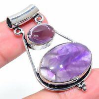 "Sage Amethyst Gemstone Handmade Ethnic 925 Silver Jewelry Pendant 1.93"" RARK-649"