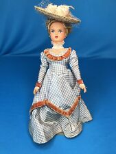 Wonderful 9� Antique Doll Closed Mouth Celluloid Victorian Costume Straw Hat