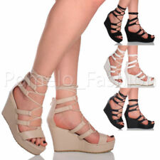 Wedge Strappy Lace Up Shoes for Women