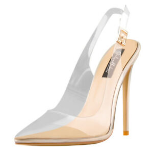 Onlymaker Women's Pointy Toe Stilettos Slingback Pumps Transparent Heel Sandals