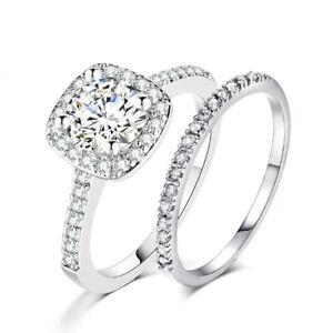 Ladies Brilliant Round Lab Diamond 18K White Gold Filled Wedding Band Ring Set