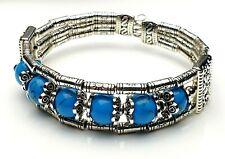 Armband Armreifen mehrreihig antik Silber Türkis Perlen flexibel