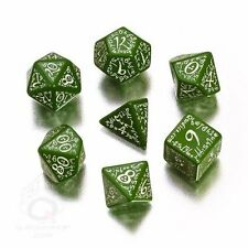 Q-Workshop Elven RPG Dice Set (7 Polyhedral) Green & White SELV14