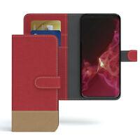 Tasche für Samsung Galaxy S9 Jeans Cover Handy Schutz Hülle Case Rot