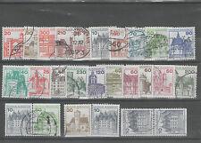 23 Briefmarken Freimarken Burgen Schlösser BRD BUND Zusammendruck gestempelt