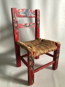 Chair Hand Painted Wooden Childs Doll Chair Rush Seat Folk Art Primitive Vintage